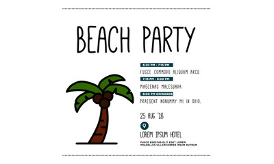 Beach Party Invitation Design with Where and When Details