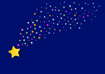 falling stars. background with bright multicolored stars