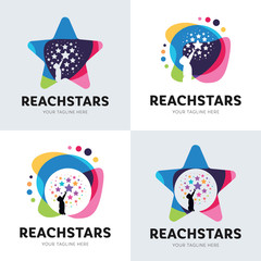 Collection Of Children Reach Star Logo Set Design Template Inspiration