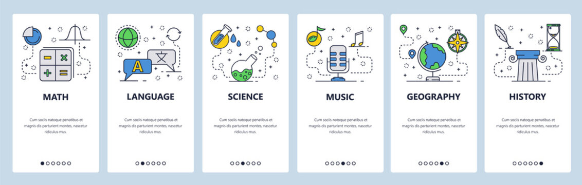 Web site onboarding screens. School education subjects. Math, science, language, history. Menu vector banner template for website and mobile app development. Modern design flat illustration.