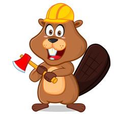 Wall Murals Bears Beaver wearing helmet carrying axe