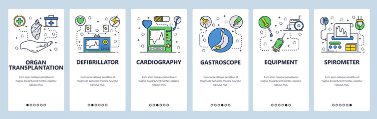 Web site onboarding screens. Medical equipment and hospital tools. Medicine and healthcare icons. Menu vector banner template for website and mobile app development. Modern design flat illustration.