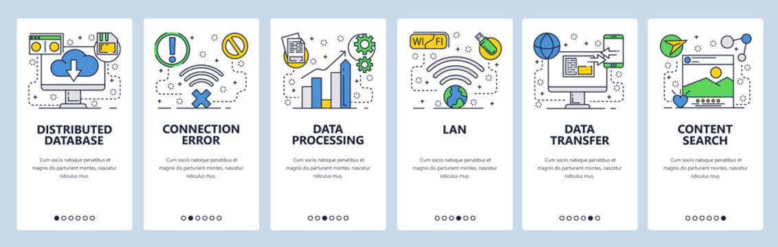 Web site onboarding screens. Online services, distributed database, cloud storage, wireless networks and data transfer. Menu vector template for website and mobile app development. illustration.
