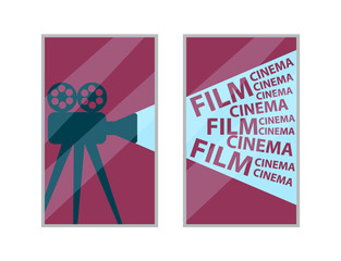 Cinema interior element, old video camera with film reels picture vector. Decor in frame, movies theater hall, image with motion picture shooting device