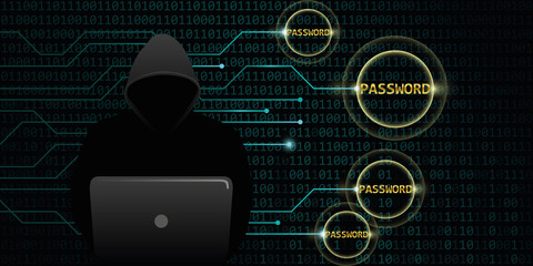 hacker steals digital passwords binary code background vector illustration EPS10