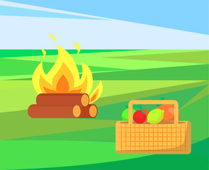 Bonfire with basket and apples, fruits and veggies vector. Container with vegetables, meal harvest of summer. Outdoor activities, camp and picnic