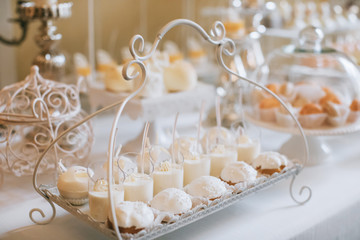Candy buffet, delicious Candy bar at a wedding