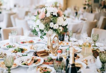 elegant wedding table setting and decoration