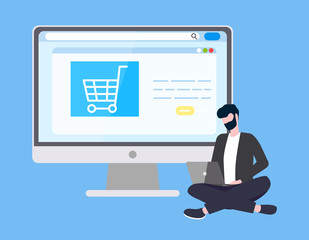 Online Internet shopping and technical support vector. Man with laptop, programmer or site operator, supermarket cart icon on webpage, payments security