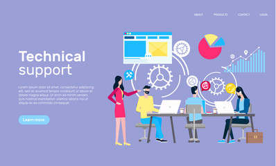 Technical support online web page, Internet shopping vector. Men and women work at laptops in informative help, boss and employees in headset, graphics