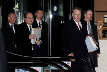 U.S. trade representative Robert Lighthizer, a member of the U.S. trade delegation to China, arrives at a hotel in Beijing