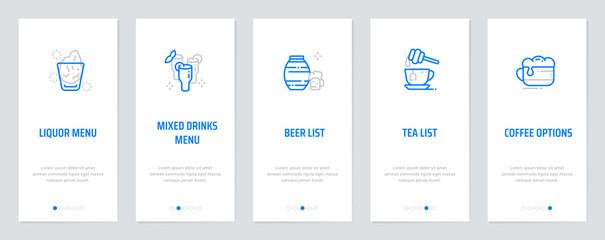 Liquor menu, Mixed drinks menu, Beer list, Tea list, Coffee options Vertical Cards with strong metaphors.