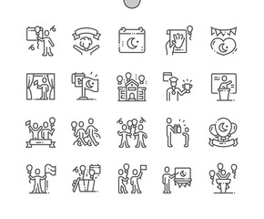 Nisan ( National Sovereignty and Children's Day) Well-crafted Pixel Perfect Vector Thin Line Icons 30 2x Grid for Web Graphics and Apps. Simple Minimal Pictogram