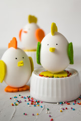Easter holiday concept with handmade chickens from eggs