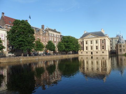 Mauritshuis art museum across the Hofvijver pond in the Hague, Netherlands