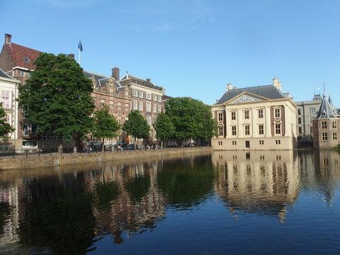 Mauritshuis art museum across the Hofvijver pond in the Hague, Netherlands