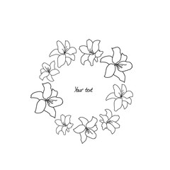 Round lily flower frame composition, white line art.