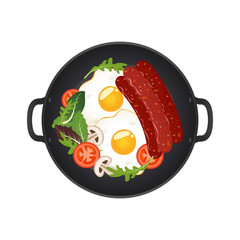 Hot frying pan with fried eggs, sausages, mushrooms, tomatoes and lettuce, top view. Isolated on white background. Vector illustration.