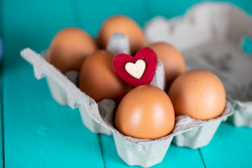 Eggs and Heart , Easter and Breakfast Concept
