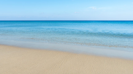 Amazing blue sky and calm Andaman sea in the morning Beautiful white sand beach nature for background and summer design