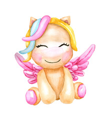 Watercolor fairytale cute unicorn with wings. Children's watercolor illustration for baby.