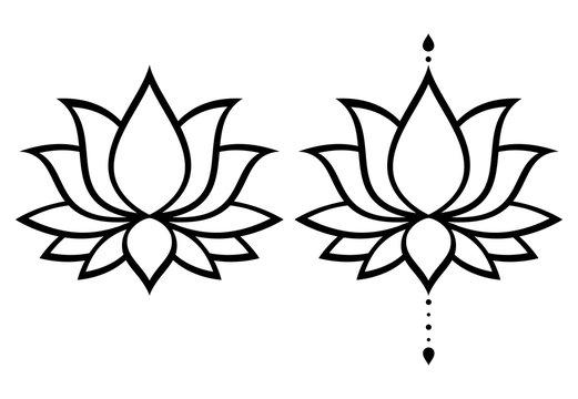 Lotus flower vector design set, Yoga or zen decorative background - boho style