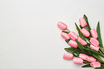 Happy Easter Pink tulips flowers