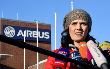 Sophia Kielhorn, head of works council Airbus Hamburg, addresses media in front of the Airbus plant in Hamburg