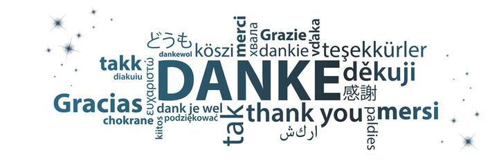 Danke - Wortwolke auf verschiedenen Sprachen
