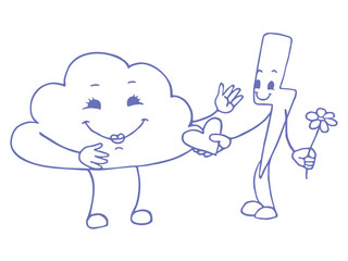 Love between cloud and lightning. Vector doodle sketch. Vector illustration on white background.