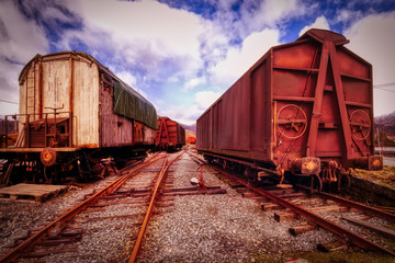 Old and run down Train Cargo carriers in Bergen Norway