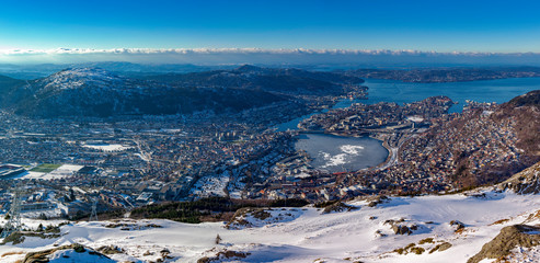 View from Ulriken. Ulriken is the highest of the Seven Mountains (de syv fjell) that surround Bergen, Norway. It has an altitude of 643 metres above sea level.