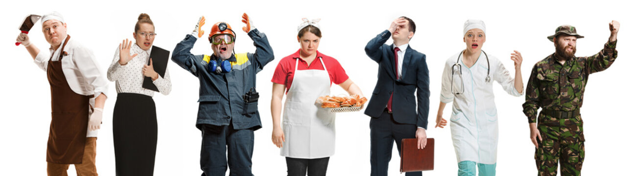 Workers strike concept. Collage of different professions. Group of angry men and women in uniform screaming at studio isolated on white background. Buisiness, professional concepts