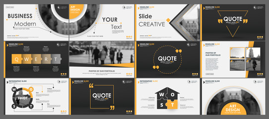Abstract white, yellow, slides. Brochure cover design. Fancy info banner frame. Creative set of infographic elements. Urban. Title sheet model set. Modern vector. Presentation templates, corporate. Wall mural