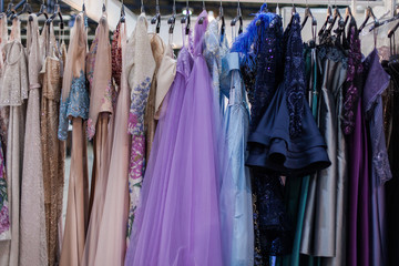 Gorgeous shiny evening dresses.