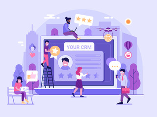 Customer relationship management platform concept with happy clients leaving positive feedback. CRM service page gathering positive user experience on database. Advertising and marketing illustration.