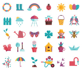 Spring icons set with gardening tools, plants, flowers, birds, insects and easter decorations. Springtime elements collection with gardening equipment, planting, growing and landscaping symbols.