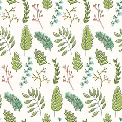 Bright summer floral seamless pattern with doodle green leaves and branches on white background. Trendy hand drawn herbs texture for textile, wrapping paper, surface, wallpaper