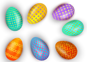Set of colorful Easter eggs isolated on white background.