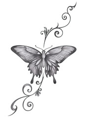 Art Butterfly Tattoo. Hand drawing on paper.