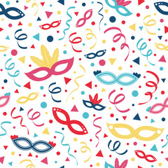Funny wallpaper with with carnival, photobooth and birthday party decorations. Vector