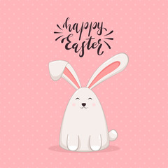 Happy Easter Rabbit on Pink Background