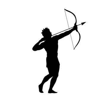 God Apollon archer silhouette ancient mythology fantasy. Vector illustration.