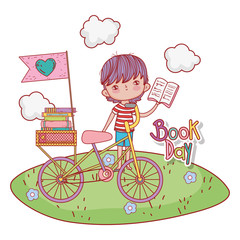 boy with bicycle and education books with clouds
