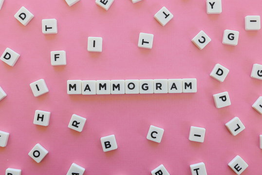Mammogram word made of square letter word on pink background.