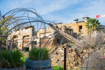 Barbed wire and a sentry post at the UN buffer zone (Green line) in divided Nicosia, Cyprus