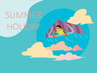 the design of the landing page advertisement with a summer holiday theme.