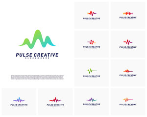 Set of Medical Pulse or Wave logo design concept.Health Pulse logo template vector. Icon Symbol