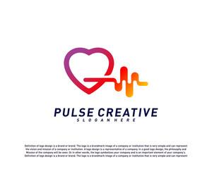 Love Medical Pulse logo design concept.Healthcare Pulse logo template vector. Icon Symbol