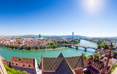 Overlooking Basel and Rhine from Minster cathedral